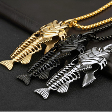 Charms Fish Bone & Fishing Hook Pendant Necklaces Stainless Steel Hollow Skeleton Necklace Fashion Jewelry Hip Hop