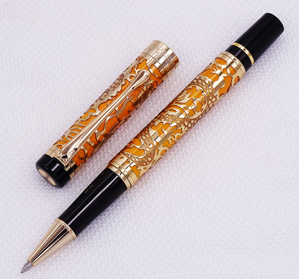 Jinhao 5000 Vintage Luxurious Metal Rollerball Pen Beautiful Dragon Texture Carving, Orange & Golden Ink Pen for Office BusinessJinhao 5000 Vintage Luxurious Metal Rollerball Pen Beautiful Dragon Texture Carving, Orange & Golden Ink Pen for Office Business