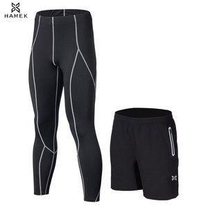 Image 5 - 2 pçs dos homens correndo calças curtas calças roupas esportivas leggings de futebol compressão fitness basquete collants bolso com zíper