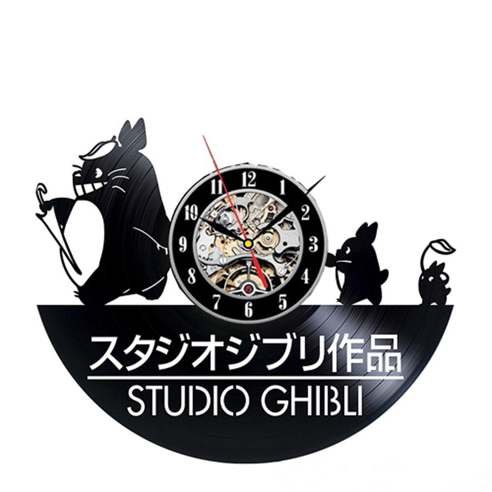 Vinyl Wall Clock Modern Design Totoro Cartoon Hanging Clocks Kids 3D Stickers Anime Vinyl Record Watch Wall Clocks Home Decor