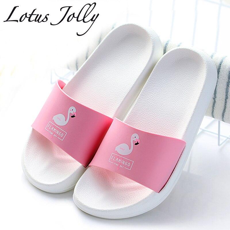 Moda 2018 mujeres del verano diapositivas Flamingo dibujos animados Zapatillas de playa plataforma Sandalias Mujer Flip Flops Zapatillas Mujer