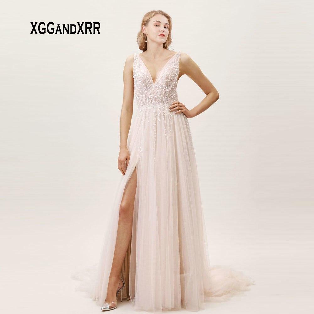 New Light Pink V Neck Tulle   Prom     Dress   2019 Heavy Beading Crystal Long Evening   Dress   Sexy Side Slit Formal Party   Dress   Plus Size