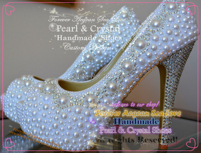 Free Shopping Custom Design Handmade Bling White Crystal Pearl Closed Toe  High Heels Pumps Platform Wedding b6b790f26883