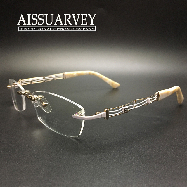 Women glasses frame rimless eyeglasses optical brand designer prescription elegant fashion light high quality new free shipping