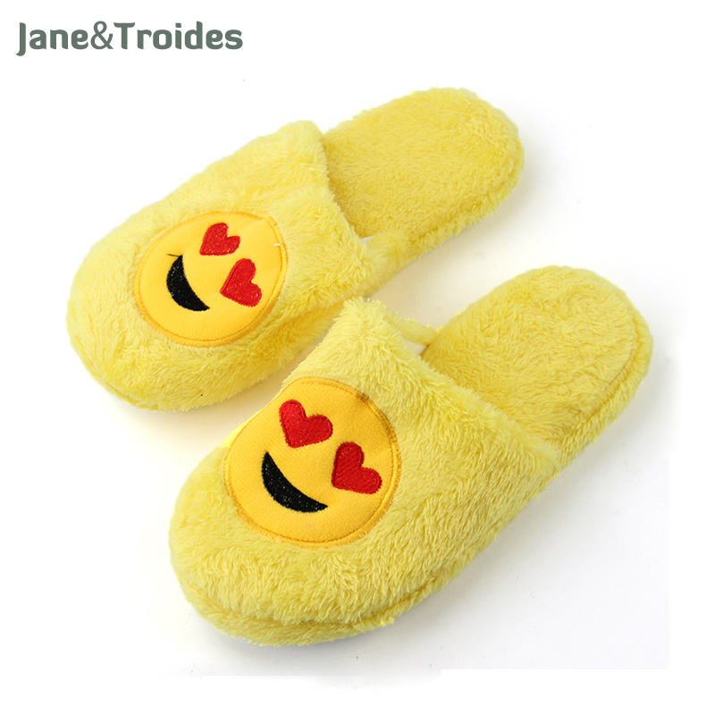 Cute Emoji Home Woman Slippers Smiley Face Soft Plush Yellow Color Slippers Warm Comfortable Anti Slip Indoor Woman Shoes soft plush big feet pattern winter slippers