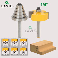 LA VIE 2PCS 1 4 Shank Rabbet Router Bit With 6 Bearings Set Adjustable Tenon Cutter