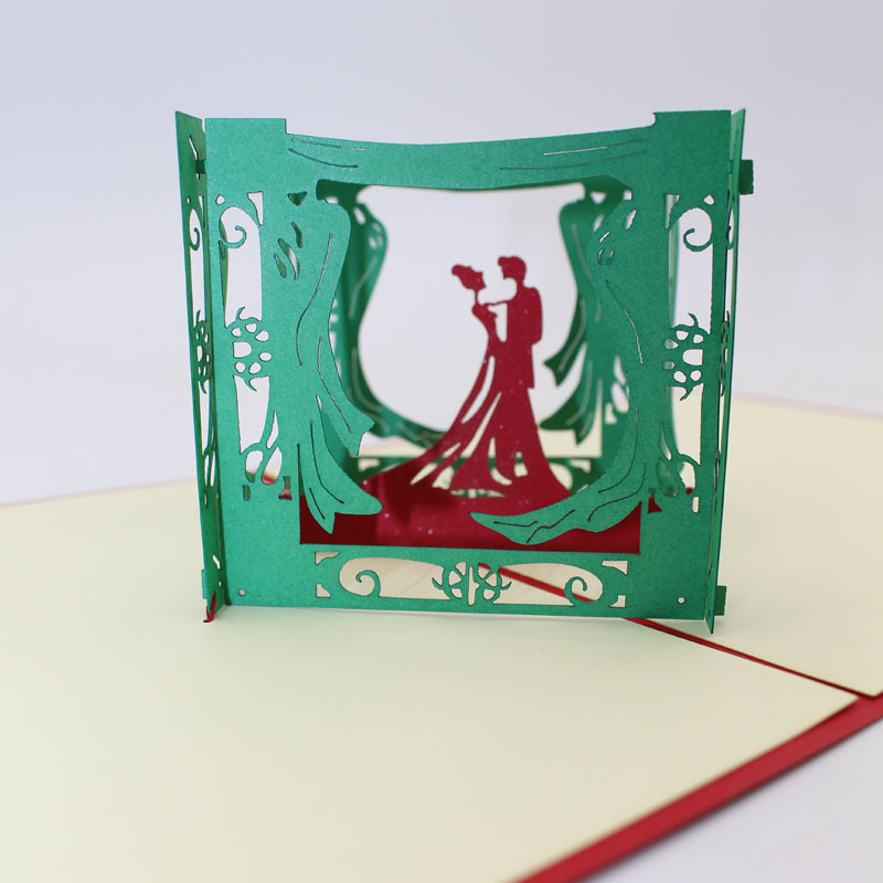 (10 pieces/lot)3D Pop Up Paper Sculpture Craft Happy Lovers Greeting Card Wedding Invitation Card Valentine's Day Wishes Gift