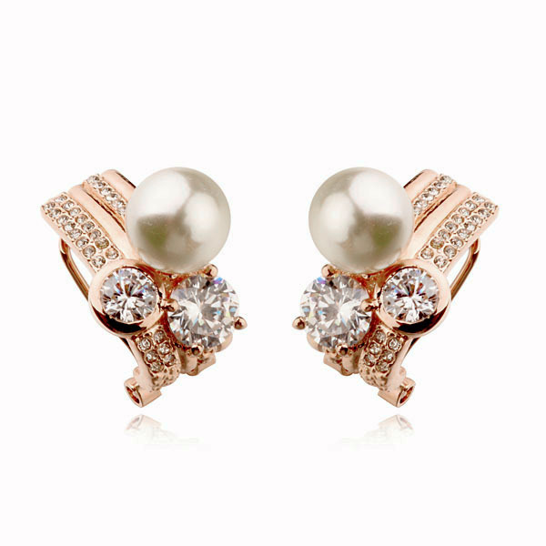 Rose Gold Plated Free shipping Fashion Italina Rigant Fashion Crystal Imitation Pearl  Earrings Jewelry wholesale Gift