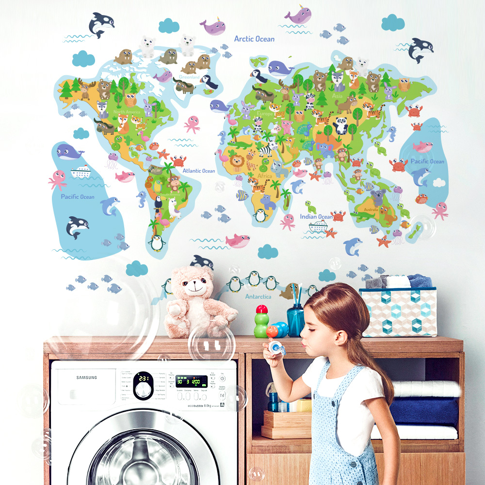 World map wall stickers for kids rooms home decor wall room stickers for decoration bedroom decor mural for kids house image