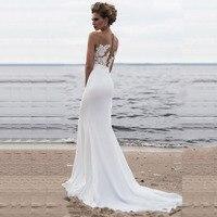 Лори пляжные свадебные платья 2019 Boho Свадебное платье Русалка Аппликация Совок кружево платье принцессы, невесты индивидуальный заказ плю