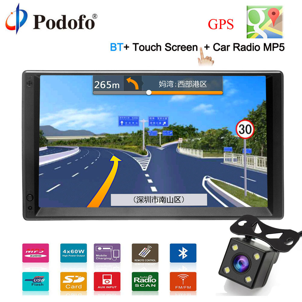 Podofo GPS Navigation Android 2 Din 7HD Car Radio Touch Screen autoradio Multimedia Player Bluetooth FM MP5 Audio Auto Stereo kkmoon 2 din hd touch screen car stereo radio player gps navigation multimedia entertainment system wifi bt am fm android 5 1