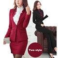 Зима женщины Элегантный юбка костюмы Дамы офис рабочая одежда OL куртка blazer костюмы офис единые конструкции стиль деловые костюмы