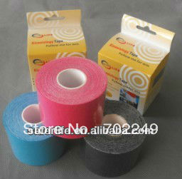 12pcs a lot DHL shipping arrive 3~6days Sports elastic therapeutic athletic knee elbow back 5cm x 5m waterproof kinesiology tape