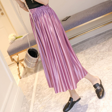 YICIYA Summer 2019 Plus Size Harajuku Vintage Style Women Elastic Waist High Pink Chiffon Pleated Skirts Black Long Skirt