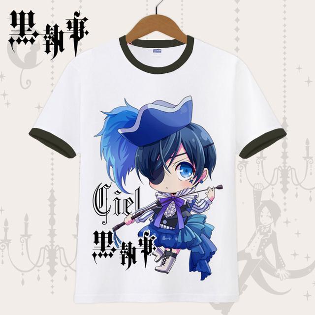 Black Butler Ciel Phantomhive Anime Casual Fashion Short Sleeves Men's T-shirt