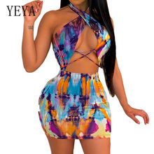 YEYA Sexy Open Back Cross Bandage Hollow Out Mini Dress Women Sleeveless Off Shoulder Halter Vintage Dress Suumer Club Dress