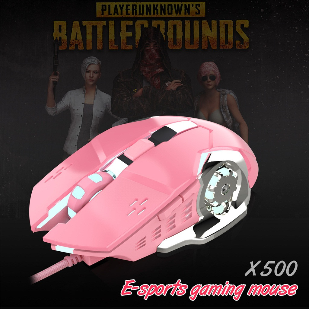 Professional HXSJ X500 Bright Wired Girl Gaming Mouse Mechanical Gamer Mice 3200DPI for PUBG USB Computer Mouse Gamer Mice Y2.28