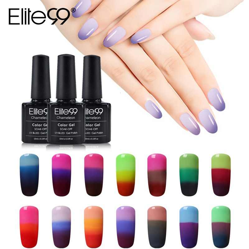 Elite99 10ml Temperature Color Change Nail Gel Varnish Soak Off Changing Color Nail Polish Thermal Gel For DIY Nail Art Design
