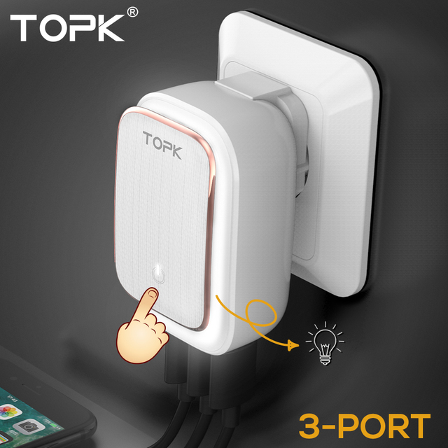 TOPK 5V 3.4A(Max) 3-Port LED Lamp USB Charger Adapter 2-IN-1 Travel Wall EU&US Auto-ID Mobile Phone Charger for iPhone Samsung