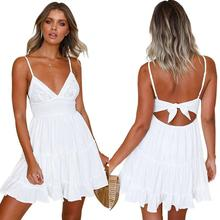 2019 New Yfashion Women Solid Color Lace V-neck Shoulder Straps Back Bandage Dress