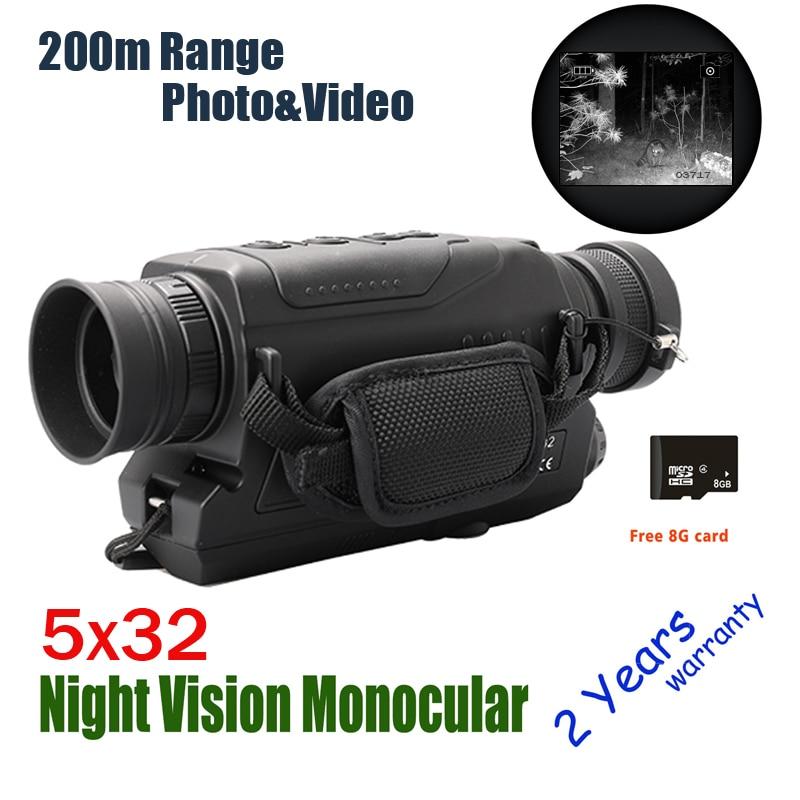 WILDGAMEPLUS WG532 Digital Low Lighting Monocular Night Vision DVR Recorder Devices 5x32 Zoom Infrared Night Vision Video Optics