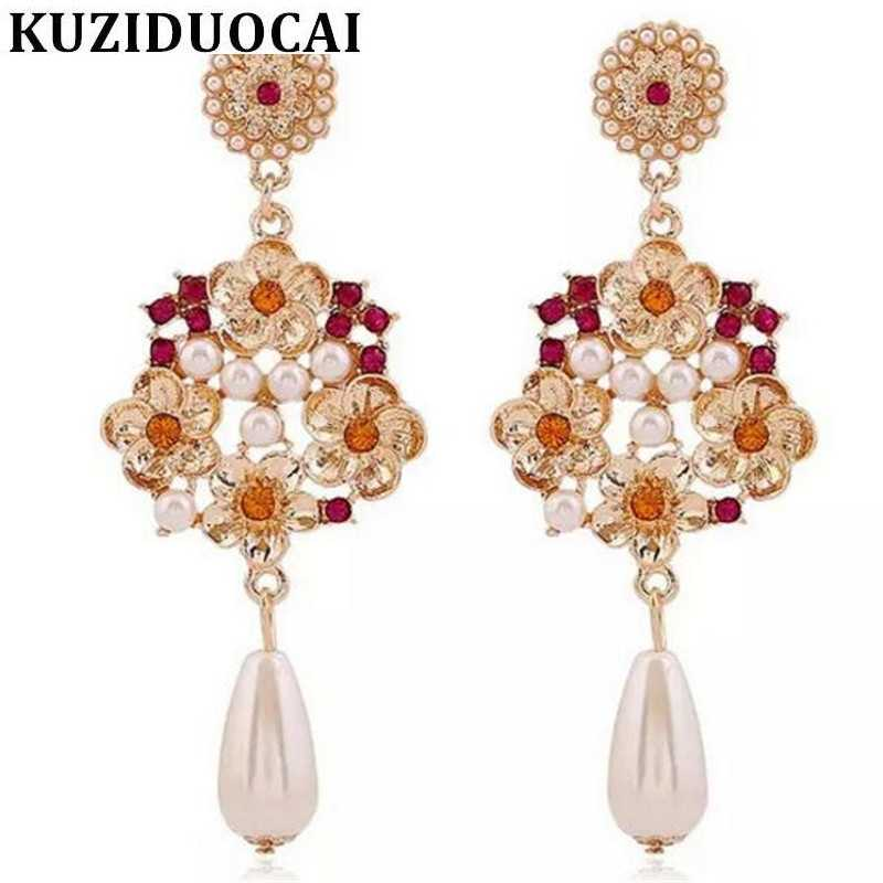 Kuziduocai New Fashion Jewelry Retro Sexy Blooming Rose Flowers Pearl Pendant Long Stud Earrings For Women Statement Brincos A44
