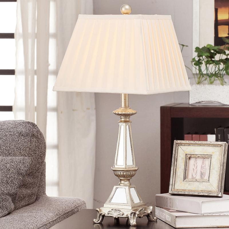 Antiken Luxus Moderne Spiegel Tischlampe Stoff Lampenschirm Wohnzimmer Schlafzimmer Nachttischlampen Beleuchtung Fr Zuhause E27 220 V