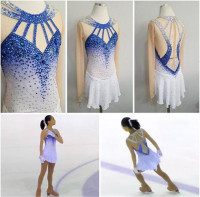 Figure Skating Dress Women's Girls' Ice Skating Dress Competitive performance clothing blue White Royal blue rhinestone