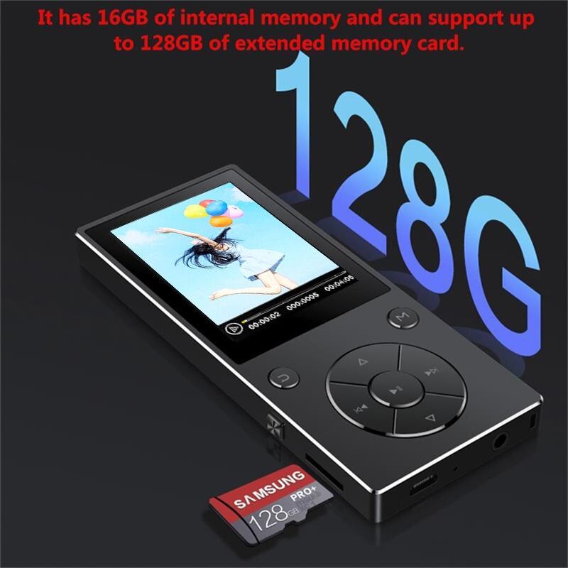 Bluetooth4.0 MP3 16 gb Embutido Speaker Music Player com Tela TFT de 2.4 Polegada Lossless Reprodutor De Som, suporta Cartão SD de até 128 gb