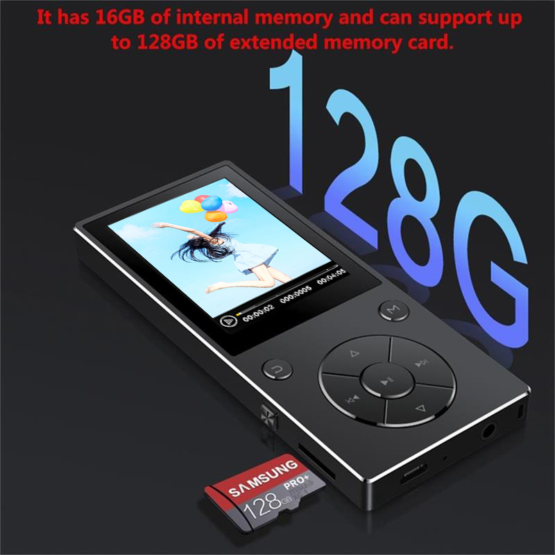 Bluetooth4.0 MP3 Music Player 16GB Built-in Speaker with 2.4 Inch TFT Screen Lossless Sound Player, Supports SD Card up to 128GB 2018 hifi lossless music mp3 player with bluetooth 2 4 tft screen built in speaker music player support tf card up to 128g