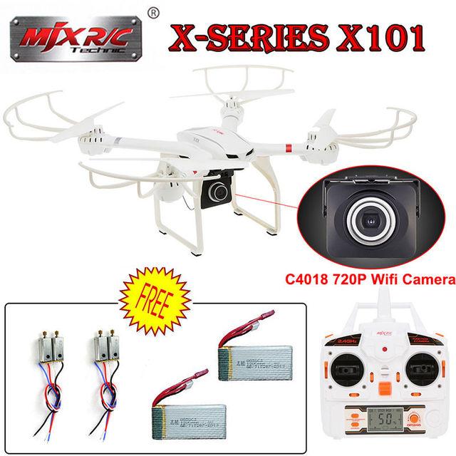 El envío gratuito! X101 2.4G FPV Wifi RC Quadcopter Drone Cámara C4018 CCW y CW Motor Set de Batería