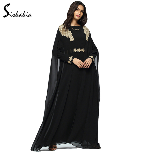 Chiffon Long Sleeve women Abaya Autumn Winter 2017