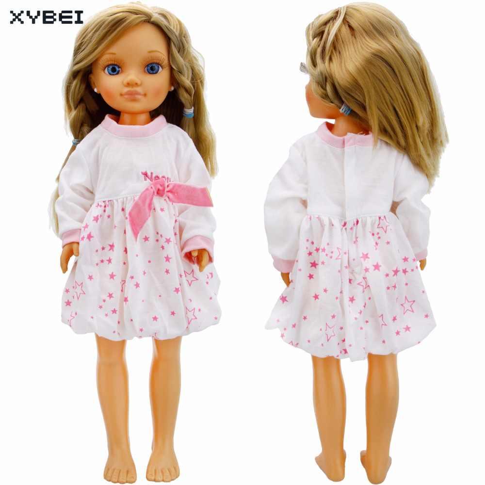 Handmade Branco Vestido de Festa de Casamento Mangas Compridas Mini Vestido Padrão de Estrela Linda Saia Roupas Para Nancy Acessórios da Boneca Brinquedos
