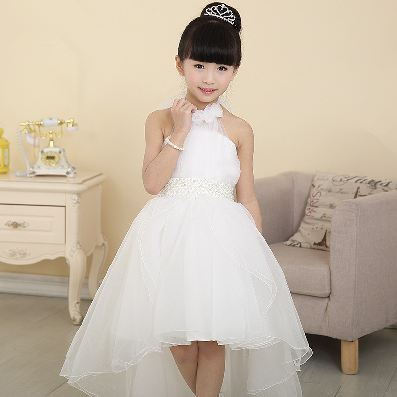 Girls princess full dress white weddings party dresses open back Elegant ropa de nina vestido blanco