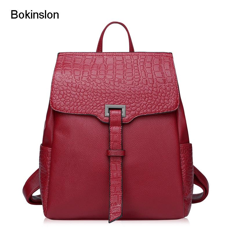 Bokinslon Backpacks Fashion Woman Split Leather Elegant Female Backpack Embossed Popular Ladies Bags High Quality рюкзаки zipit рюкзак shell backpacks