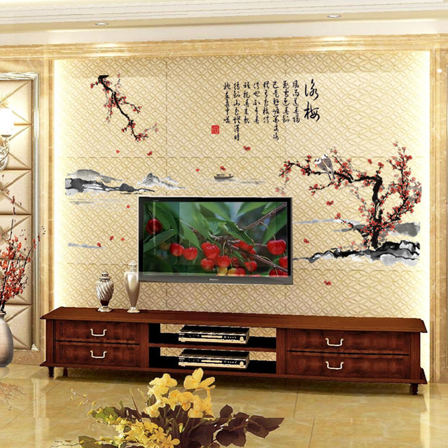yongmei ink painting living room bedroom study background chinese style decorative wall stickers home decoration accessories - Bedroom Decorative Accessories