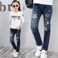 2017 Baby Girls Jeans Pattern Kids Appliques Jeans Children Spring Denim Pants Cute Girls Fashion Trousers