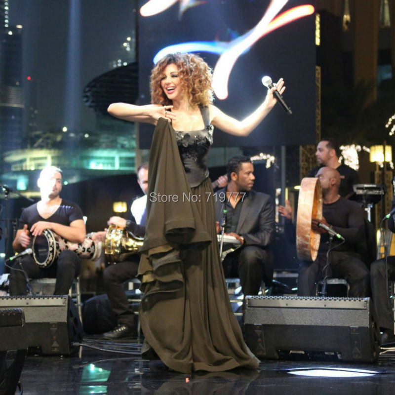 -Black-Floral-Chiffon-Myriam-Fares-Lebanon-Singer-Formal-Dresses-New-Square-Long-Evening-Party-Dress