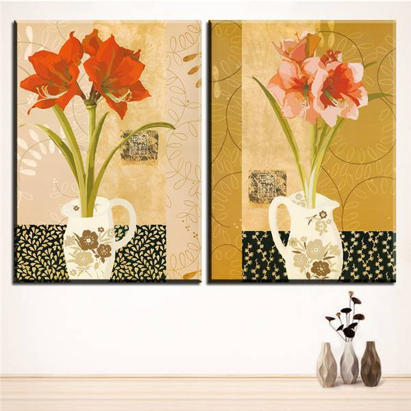 Large Size 2pcs Print Oil Painting Wall Vase Flower Painting ...
