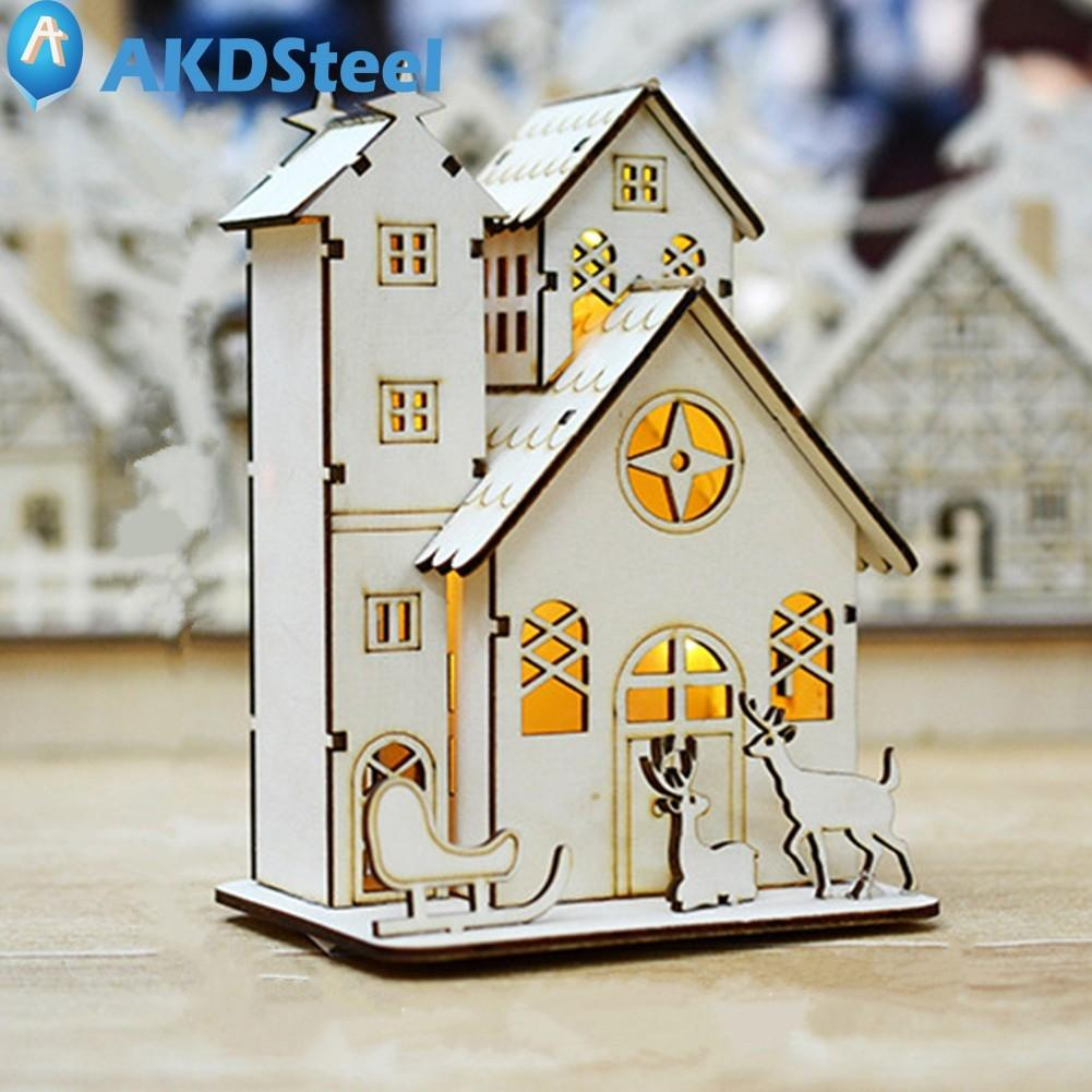 AKDSteel Creative LED Log Cabin Wood House Night Light for Christmas ...