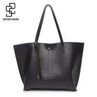 SEVEN SKIN Brand Women Large Shoulder Bag Female Crocodile Pattern PU Leather Bags Casual Tote Bag
