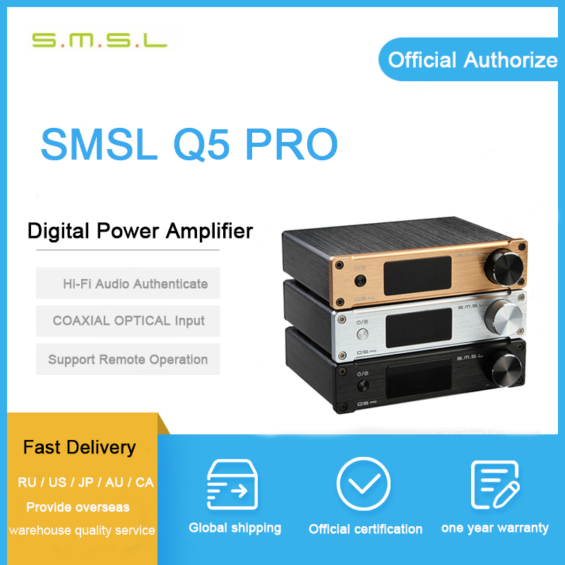 SMSL Q5 Pro Digital Amplifier 2-50W USB/Coaxial/Optical 2x45W Control USB COAXIAL OPTICAL Input 192KHZ 44Bit with Remote Control стоимость