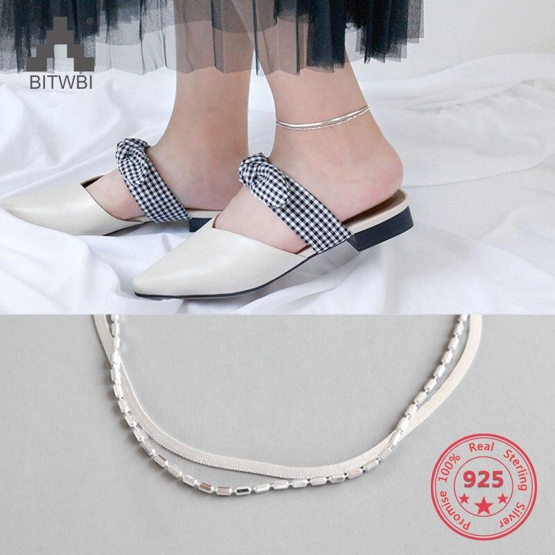 2018 Echt 925 Sterling Silber Knöchel Armband Femme Minimalistischen Doppel Silber Ketten Nnklets Für Frauen Schmuck