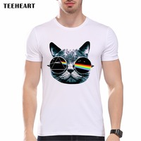 New 2016 Summer Vintage Pink Floyd Cat Print T Shirt Men S High Quality Rock Punk