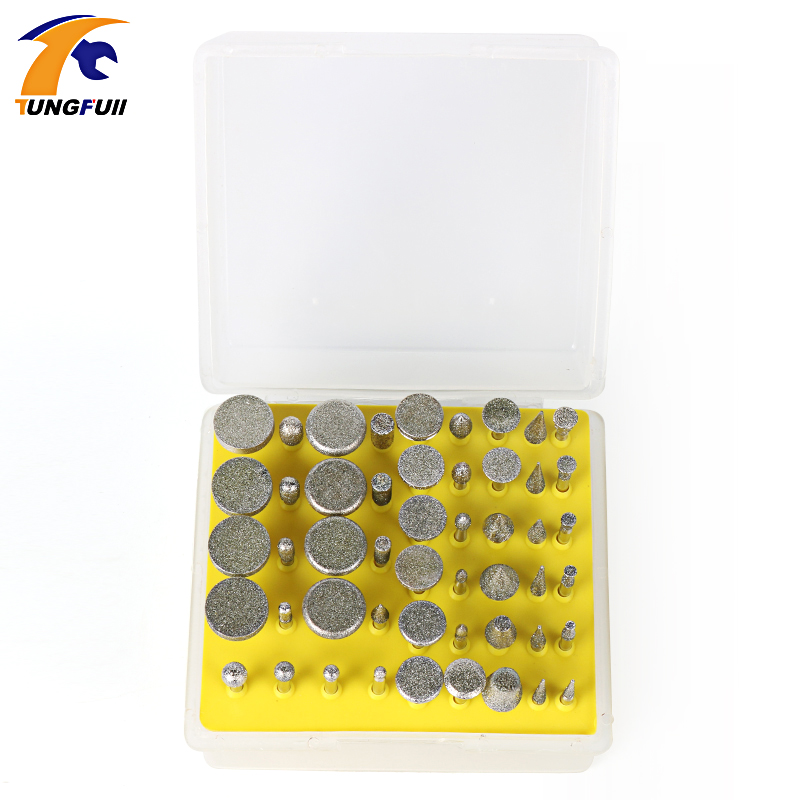 50Pcs Diamond Coated DIY Metalworking Grinding Grinder Head Glass Burr DREMEL Rotary Tools For Stone Ceramic Glass Carbide Gem