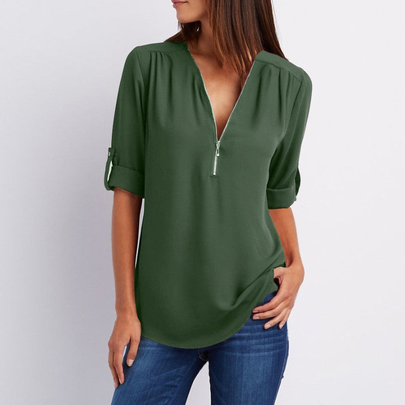 hot-sale-2018-Women-Chiffon-Blouse-Blusas-Tops-Large-Size-Roll-Up-Sleeve-SEXY-v-neck (5)