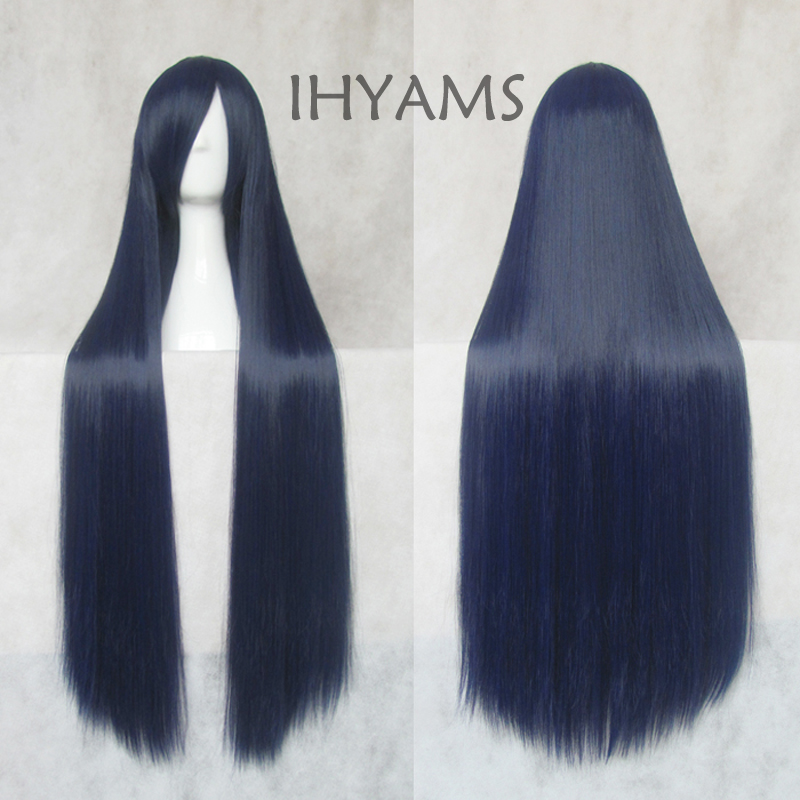 Kuroyuki hime 100cm Blue Black Fusion Long Straight Hair Heat Resistance Cosplay Costume Wig + Wig Cap