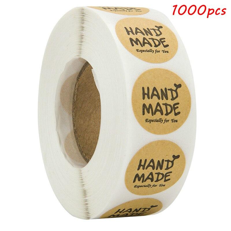 1000 Uds. Etiquetas de sello de pegatinas hechas a mano redondas y marrones, especialmente para usted, etiquetas adhesivas para álbum de recortes y papelería, Rollo adhesivo