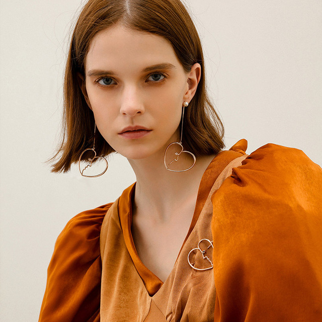 Unique Chic Trend Fashion Artsy Face Dangle Earrings For Women Heart Super Long S Bijoux