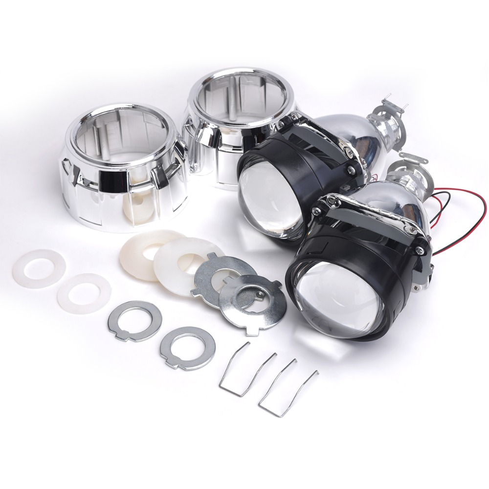 ФОТО 2pc bixenon lens with Shroud 2.5inch projector lens for H4 H7 Bi xenon bi-xenon lens H1,H11,9005,9006 car hid headlight